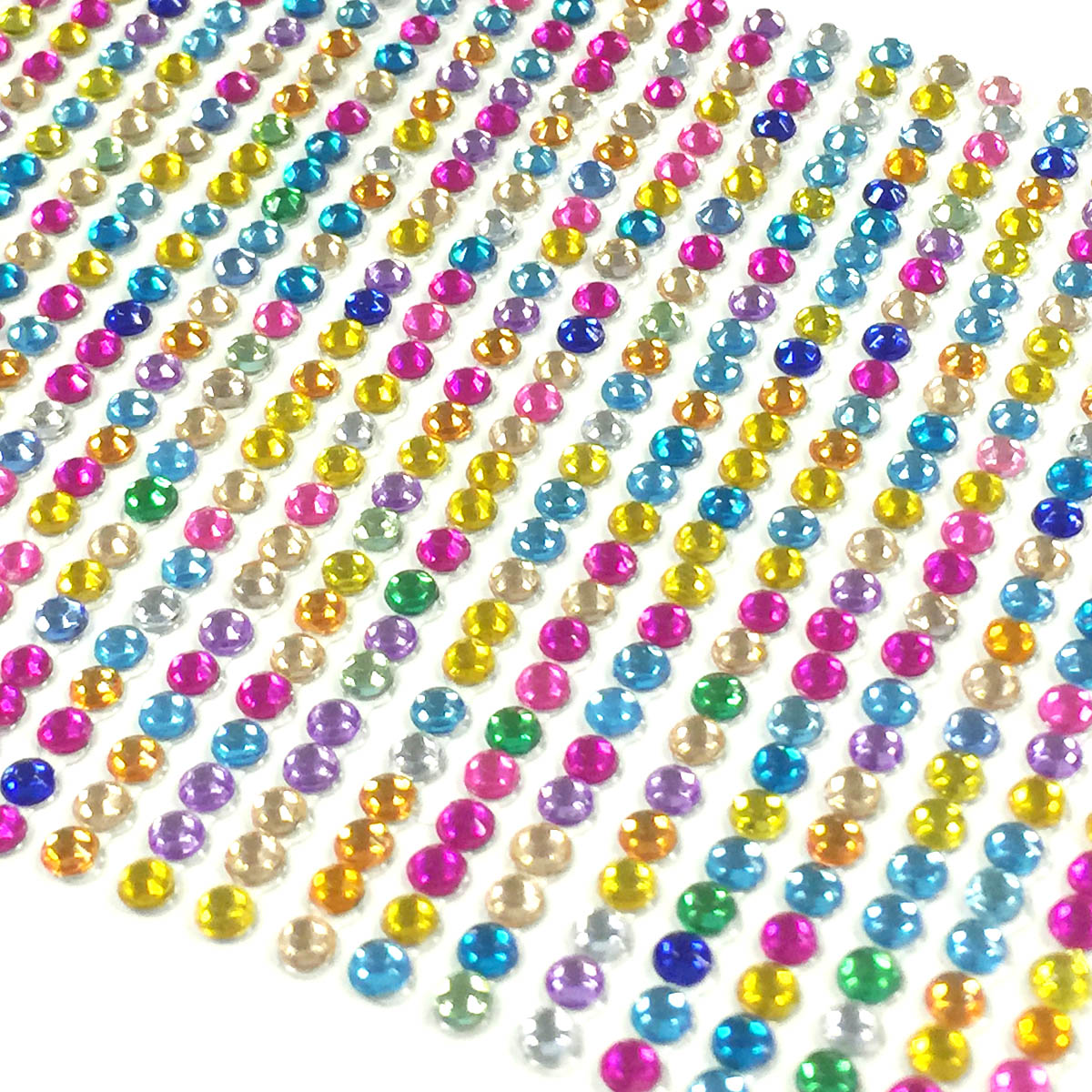 Wrapables 750-Piece Adhesive Rhinestone Crystal Diamond Sticker, 3mm, Multi-Color