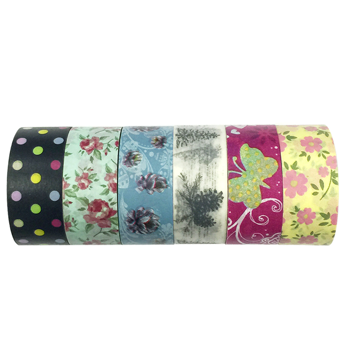 Wrapables Washi Tapes Masking Tapes 10M L x 20mm W, Set of 6, Daydream