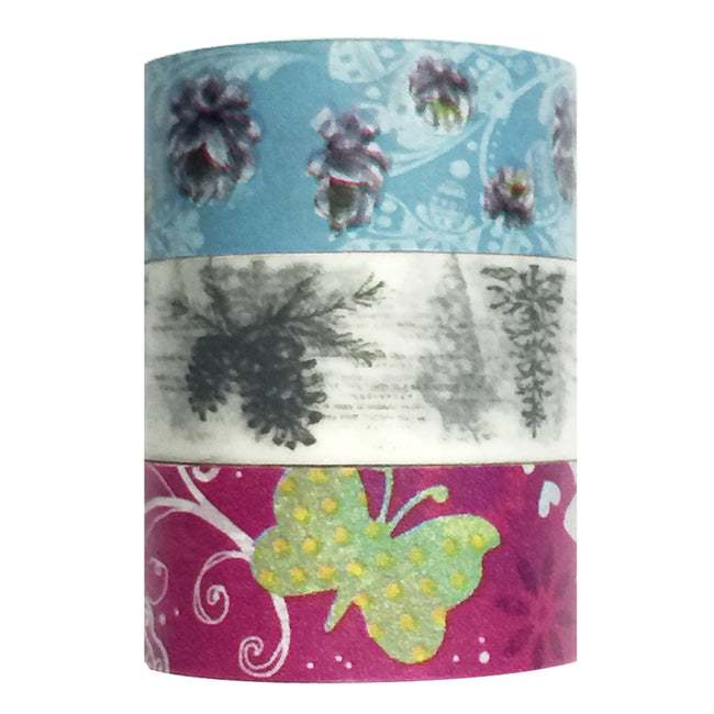 Wrapables Butterfly Dreams Washi Masking Tape (set of 3), 10M L x 20mm W