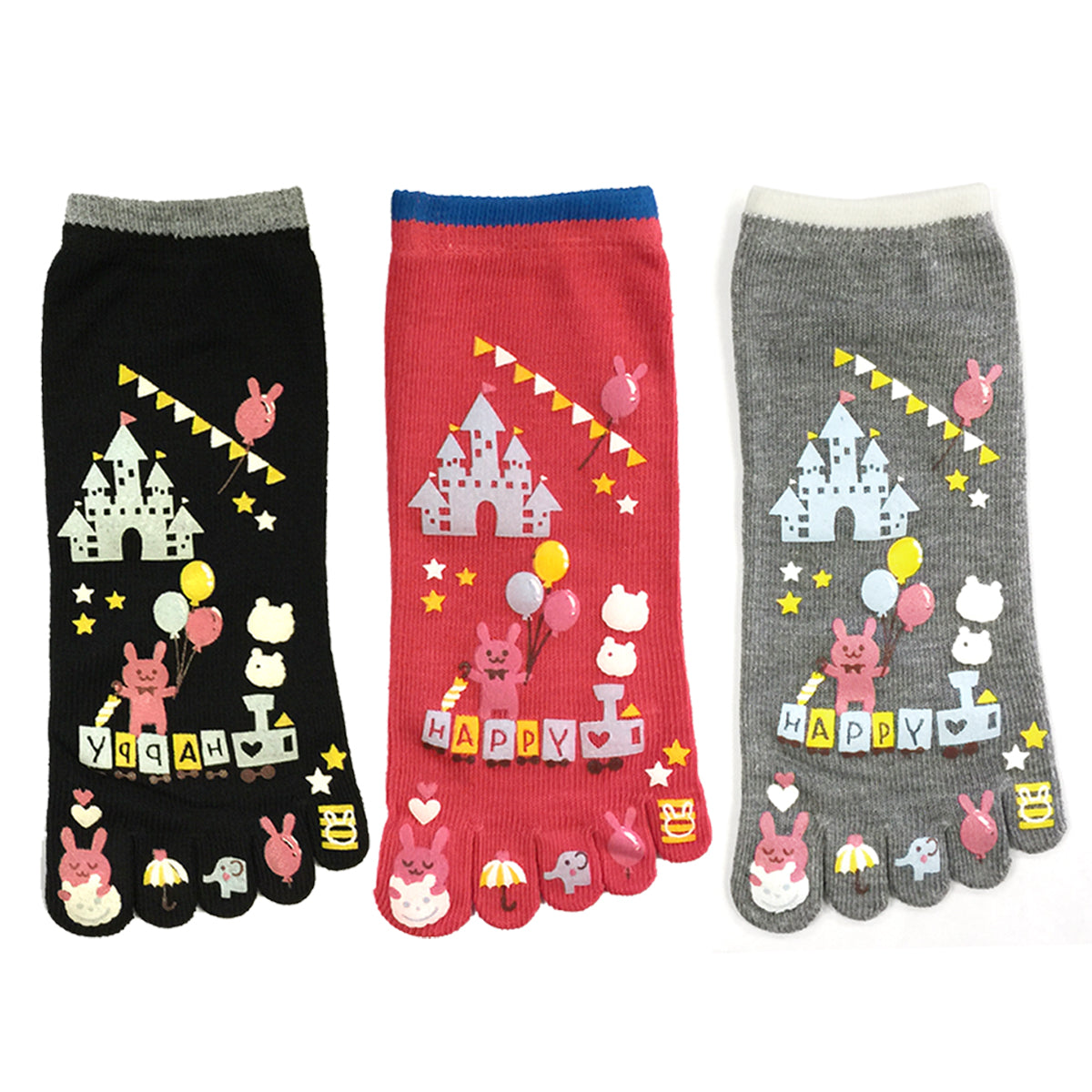 Wrapables Amusement Park Cartoon Socks Five Toe Socks (Set of 3)