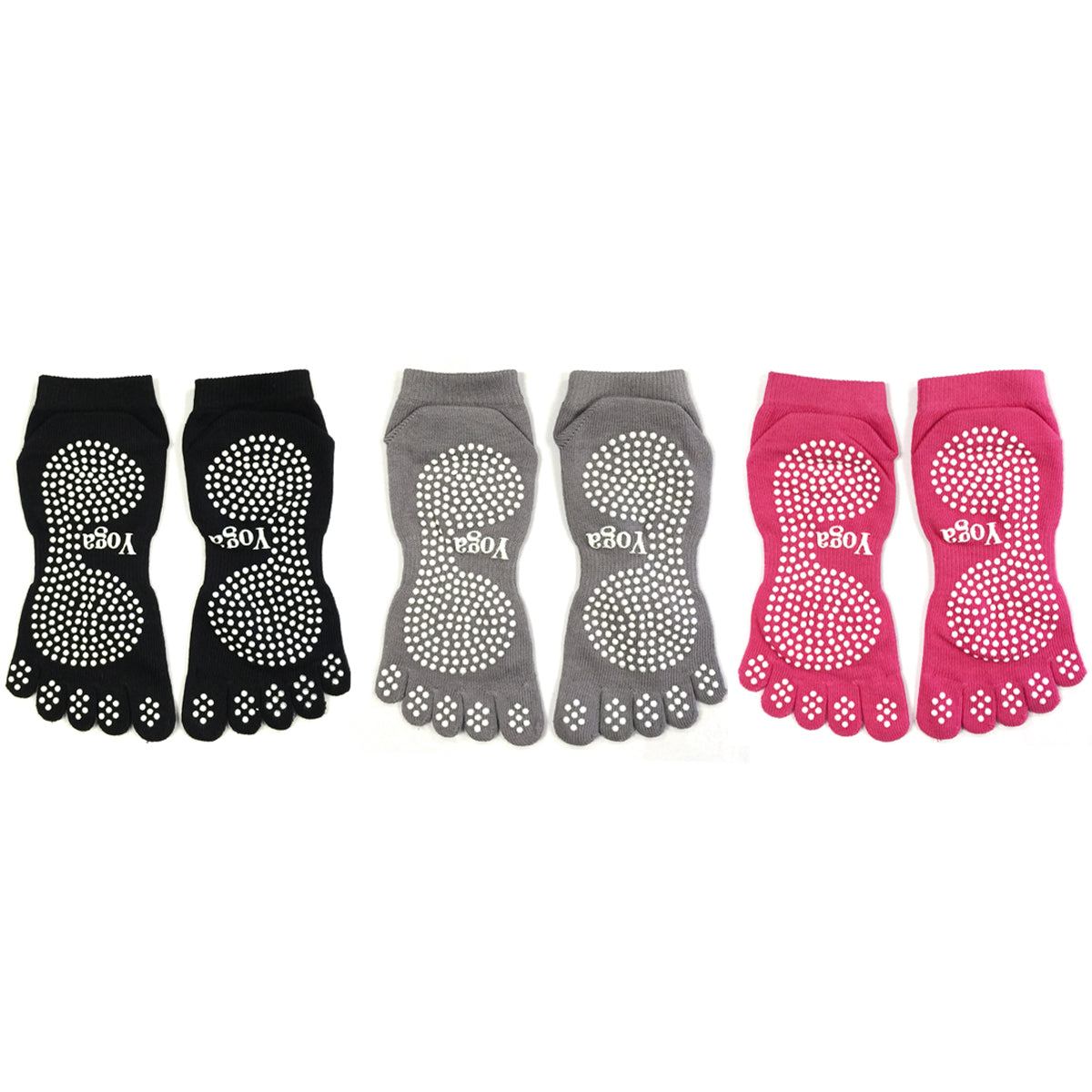 Wrapables Full Toe Yoga Pilates Socks with Grips, Set of 3
