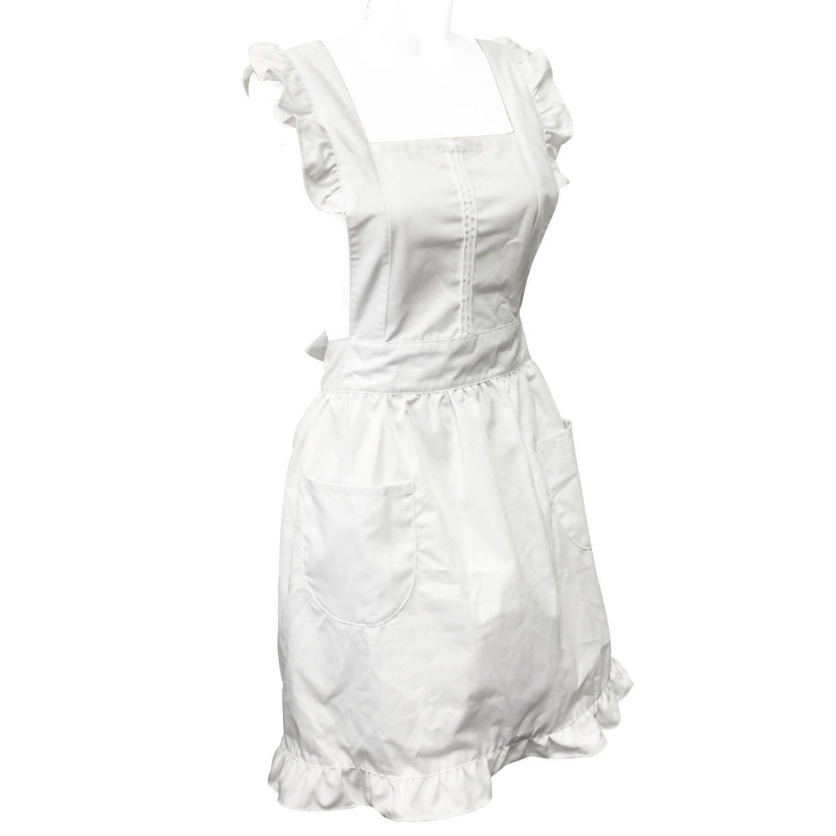 Wrapables Retro White Apron with Pockets for Cooking or Cosplay