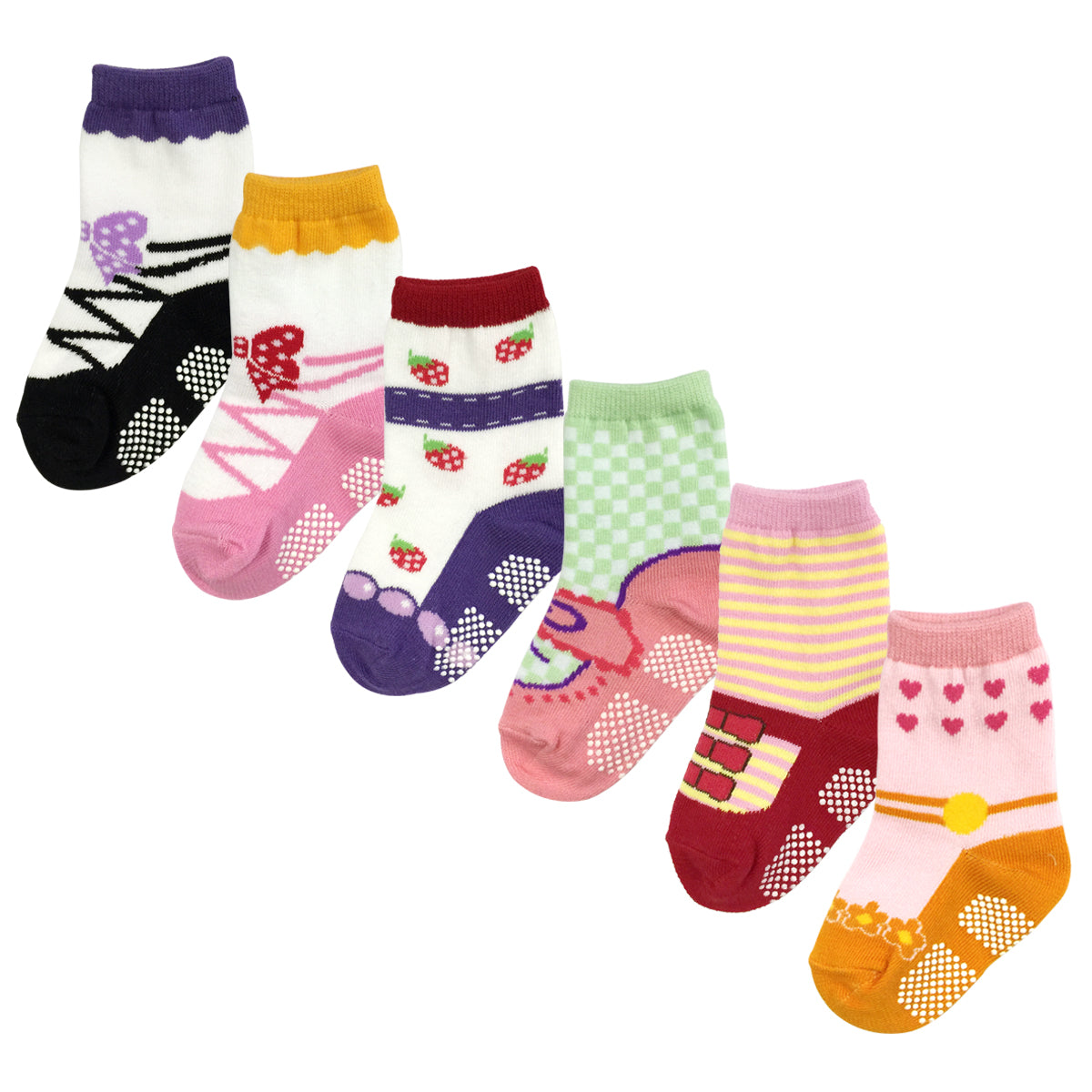 Wrapables Cutie Pie Mary Jane Non-Skid Socks (Set of 6), Set 1