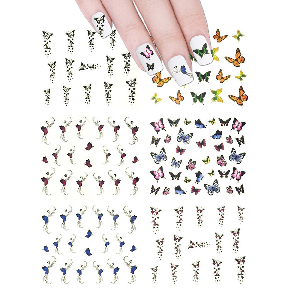 Wrapables Nail Art Water Nail Stickers Water Transfer Stickers / Nail Art Tattoos / Nail Art Decals, Butterflies (6 sheets)