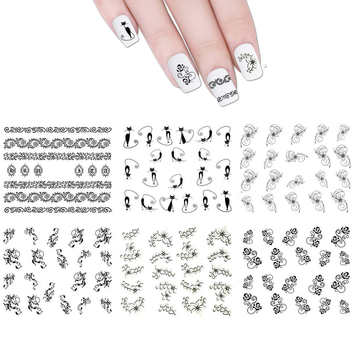 Wrapables Nail Art Water Nail Stickers Water Transfer Stickers / Nail Art Tattoos / Nail Art Decals, Black & White (6 sheets)