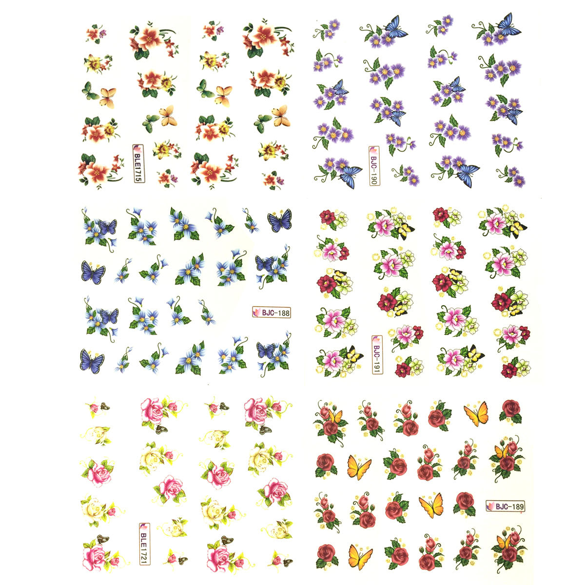 Wrapables Nail Art Water Nail Stickers Water Transfer Stickers / Nail Art Tattoos / Nail Art Decals, Flowers & Butterflies (6 sheets)