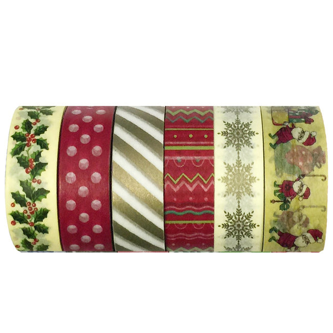 Wrapables Oh Santa Washi Tapes Decorative Masking Tapes, Set of 6