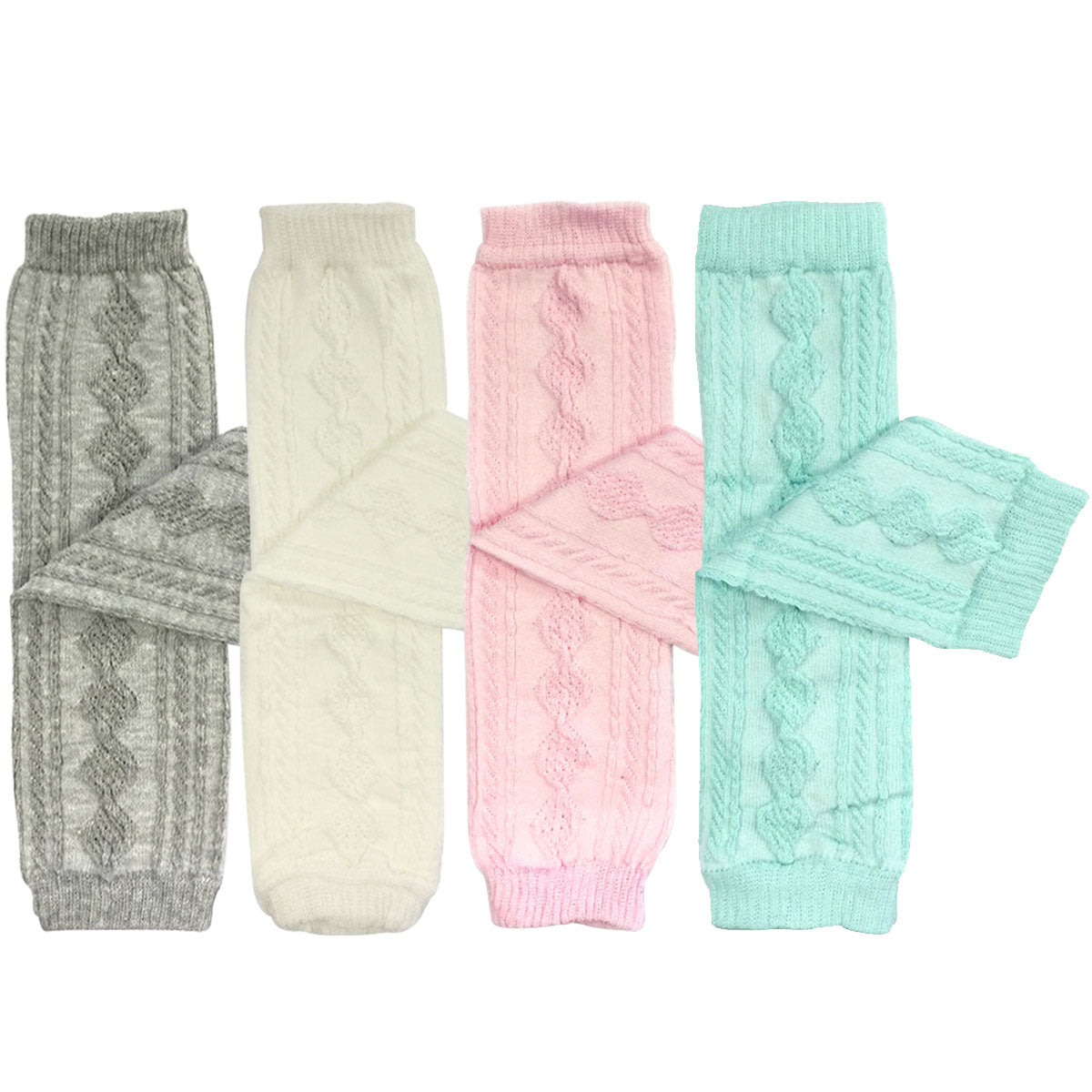 Wrapables Cable-Knit Baby Leg Warmers Set of 4