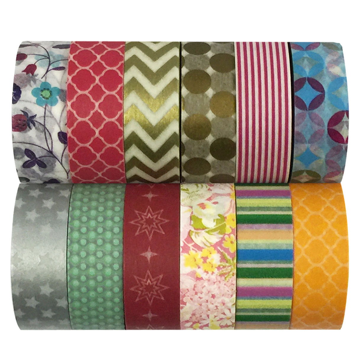 Wrapables Washi Tapes Decorative Masking Tapes, Set of 12