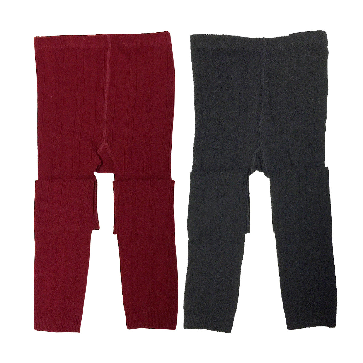 Wrapables Burgundy and Black Cotton Heart Knit Leggings for Toddlers (Set of 2)