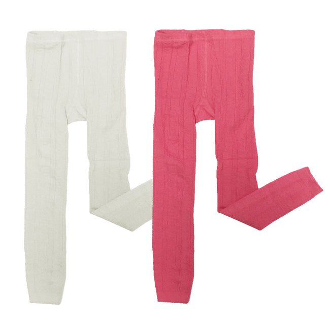 Wrapables White and Pink Cotton Heart Knit Tights for Leggings (Set of 2)