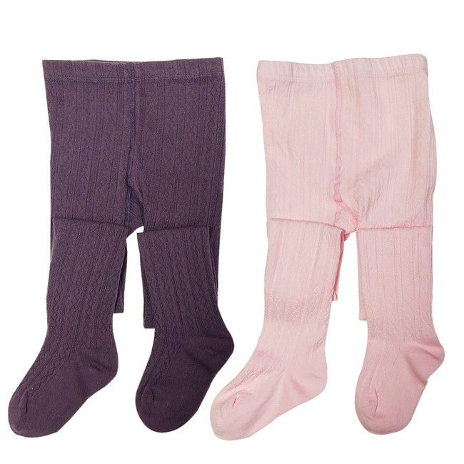 Wrapables Purple and Pink Cotton Diamond Weave Knit Tights for Girls (Set of 2)