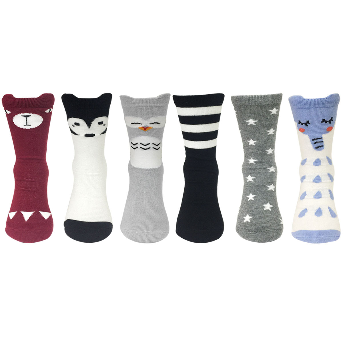 Wrapables My Best Buddy Socks for Baby (Set of 6), Nocturnal Friends
