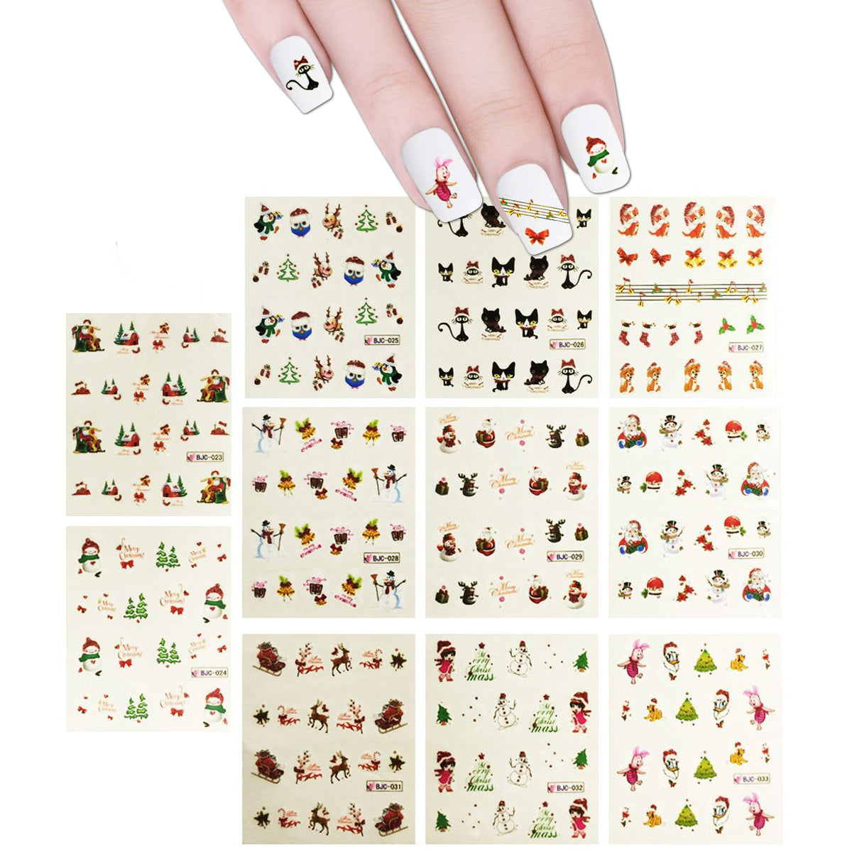 Wrapables Fingernail Tattoo Christmas Nail Art (11 Designs/220 Nail Tattoos)