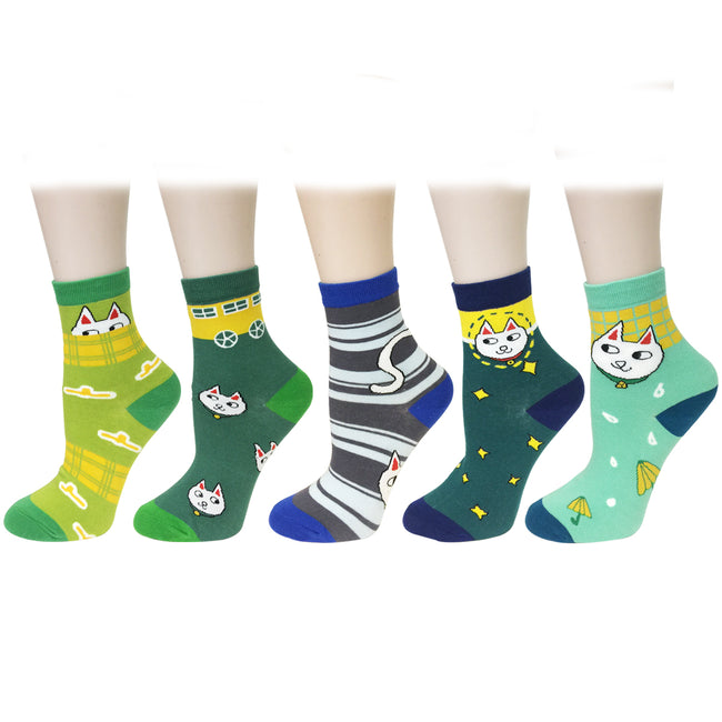 Wrapables Fun Designs Crew Socks for Women (Set of 5), Cool Slang