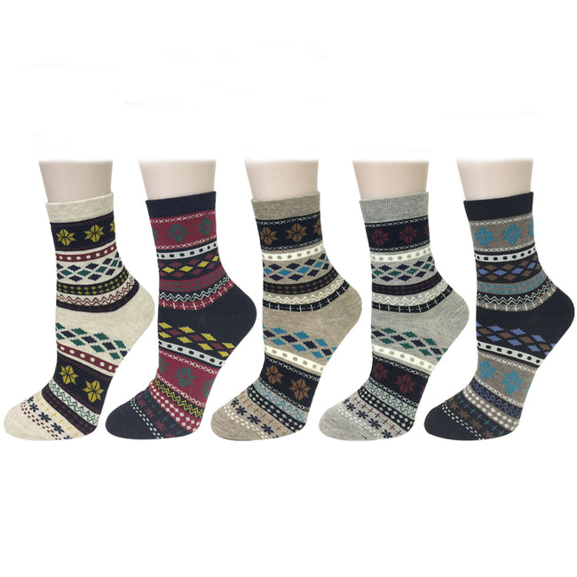 Wrapables Winter Snowflake Pattern Crew Socks (5 Pairs)