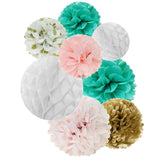 Wrapables Set of 8 Tissue Honeycomb Ball and Pom Pom Party Decorations, Aqua/ Light Pink/ Gold/ White