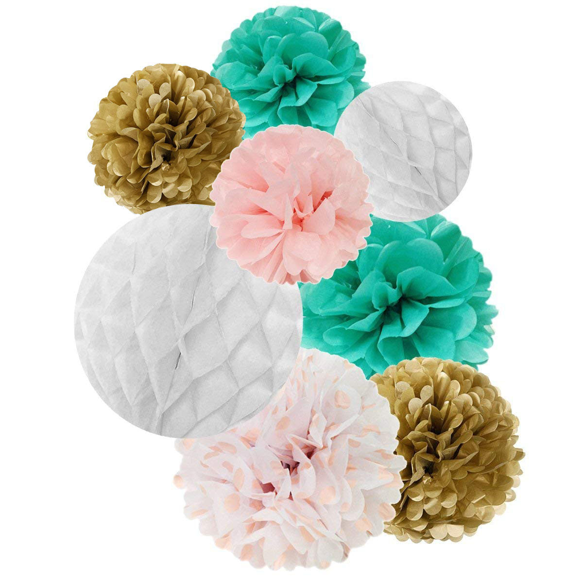 Wrapables Set of 32 Tissue Honeycomb Ball and Pom Pom Party Decorations, Aqua/ Light Pink/ Gold/ White