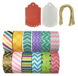 Wrapables Set of 12 Washi Tapes Decorative Masking Tapes + 20 Shimmer Tags