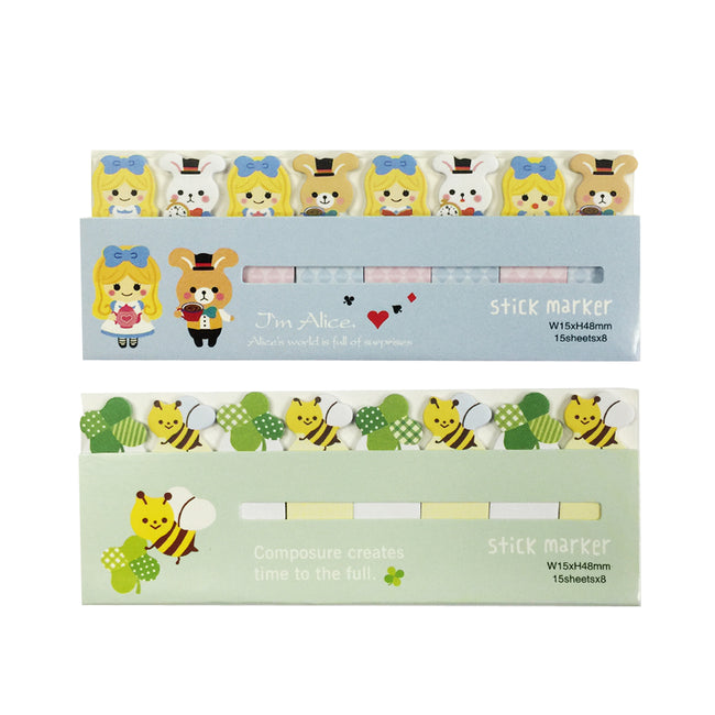Wrapables Bookmark Flag Tab Sticky Markers (Set of 2), Alice and Bees