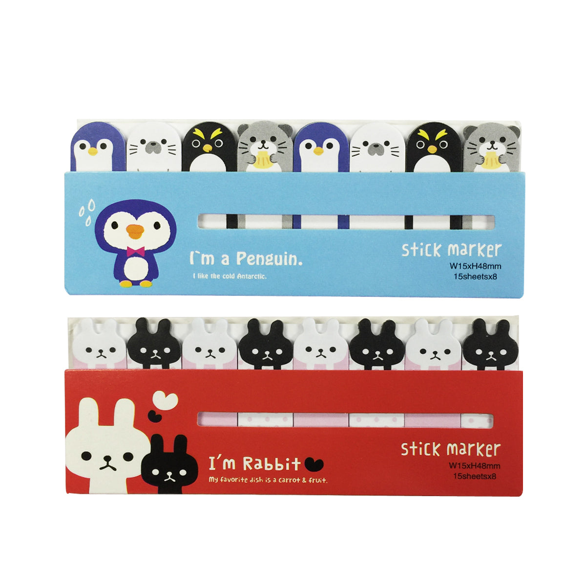Wrapables Bookmark Flag Tab Sticky Markers (Set of 2), Penguins and Bunnies