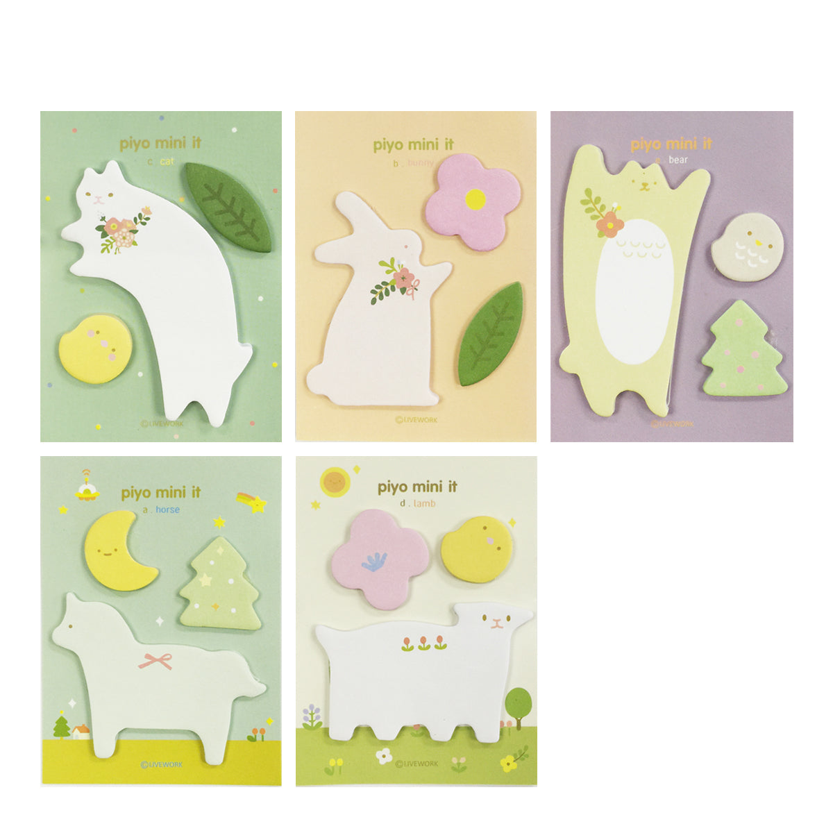 Wrapables Elegant Animals Memo Sticky Notes (Set of 5)