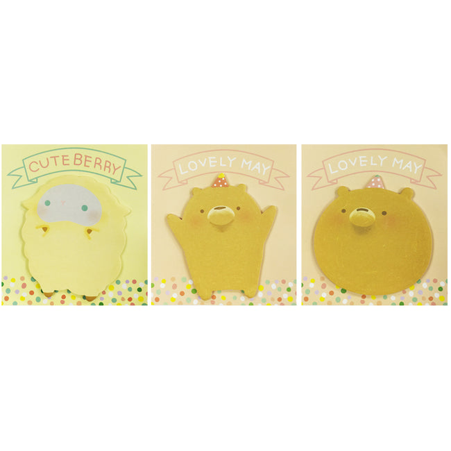 Wrapables Cute Furries Memo Sticky Notes (Set of 3)
