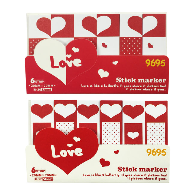 Wrapables Bookmark Flag Tab Sticky Notes (Set of 2), Sweetheart