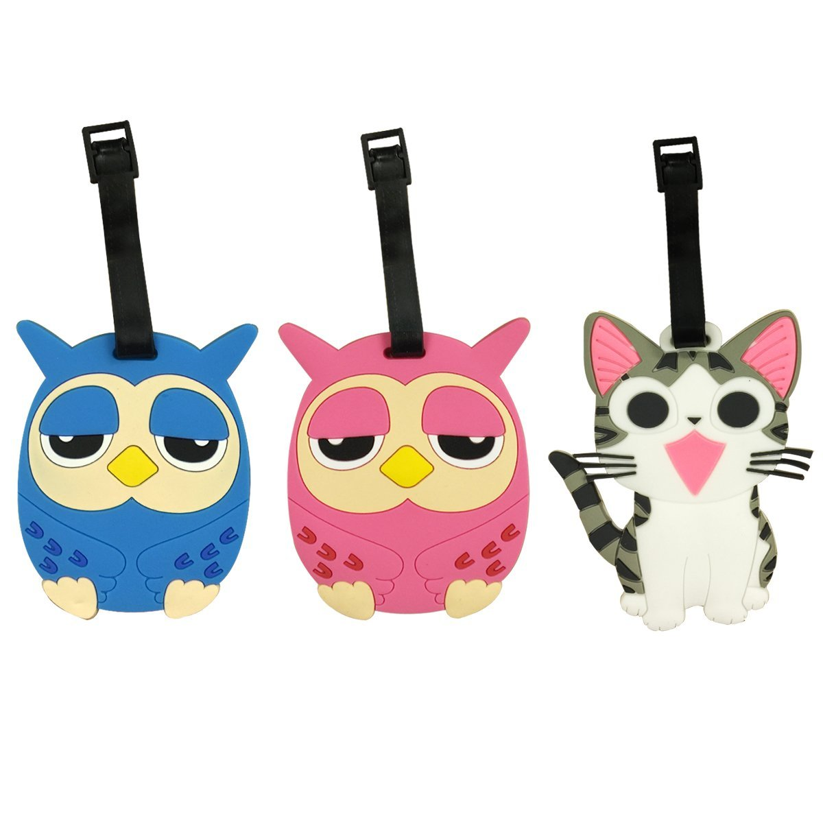 Wrapables Silicone Animal Luggage Tag with ID Card (Set of 3)