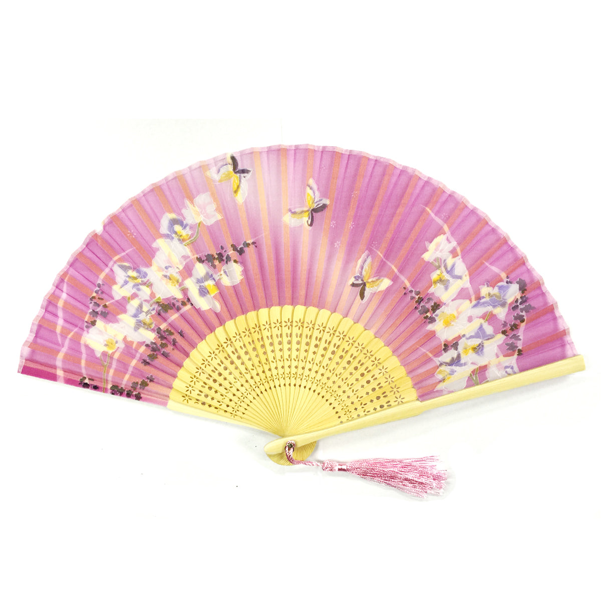 Wrapables Silk Handheld Folding Fan with Tassel and Protective Sleeve