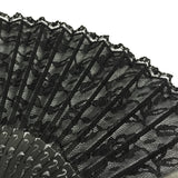 Wrapables Vintage Lace Handheld Folding Fan with Tassel, Black Rose Floral