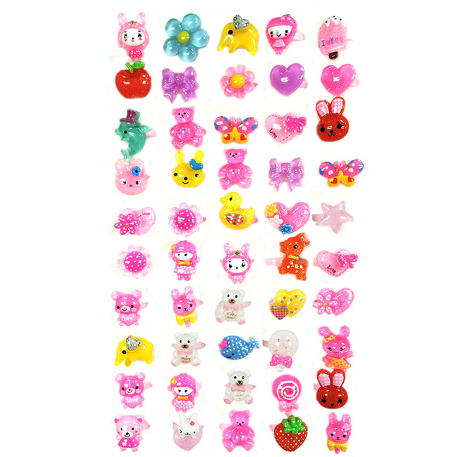 Wrapables Children's Cute Cartoon Rings Party Favor Rings (Set of 50), Random