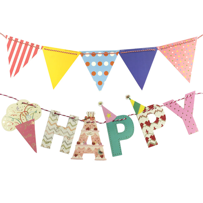 Wrapables Multi-Print Triangle Pennant and Birthday Banners Party Decorations