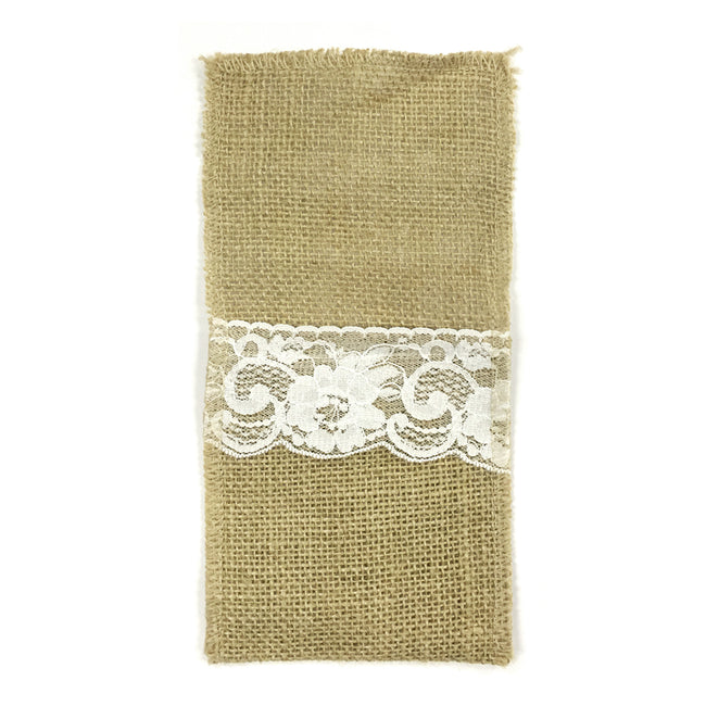 Wrapables? Burlap with Lace Cutlery Holder for Rustic Weddings (Set of 10)