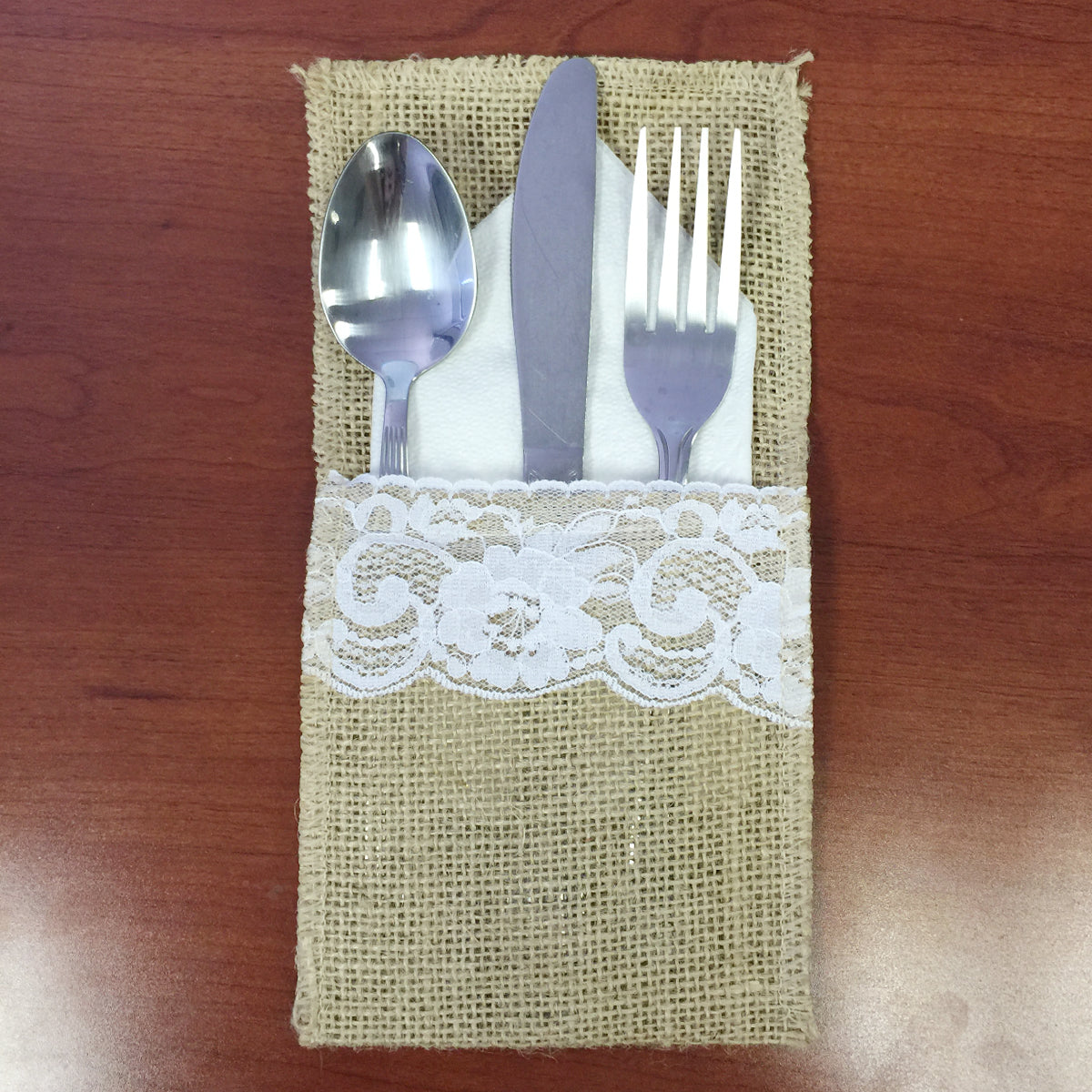 Wrapables Burlap with Lace Cutlery Holder for Rustic Weddings (Set of 10)