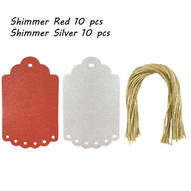 Wrapables 20 Gift Tags/Kraft Hang Tags with Free Cut Strings for Gifts, Crafts & Price Tags, Large Scalloped Edge (Shimmer Red & Silver)