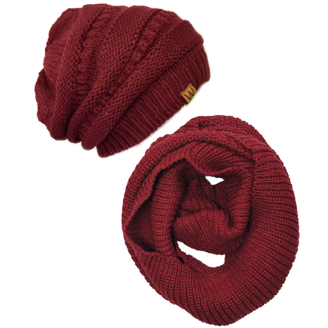 Wrapables Winter Warm Knitted Infinity Scarf and Beanie Hat Set
