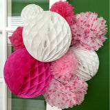 Wrapables Set of 21 Tissue Honeycomb Ball and Pom Pom Party Decorations, Pink/ Hot Pink/ White
