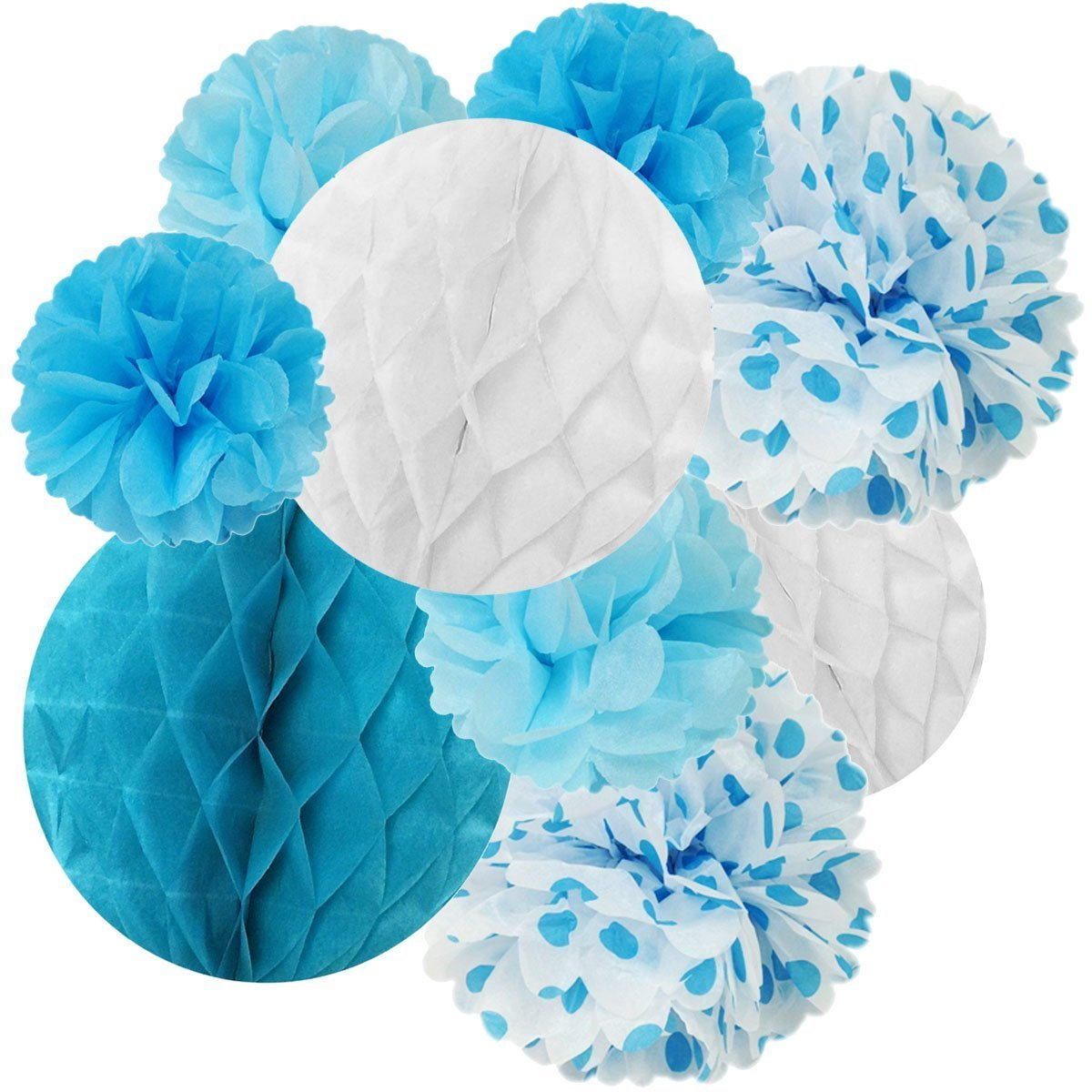Wrapables Set Of 21 Tissue Honeycomb Ball And Pom Pom Party Decorations Blue Light Blue Aqua White