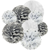 Wrapables Set of 21 Tissue Honeycomb Ball and Pom Pom Party Decorations, Silver and White