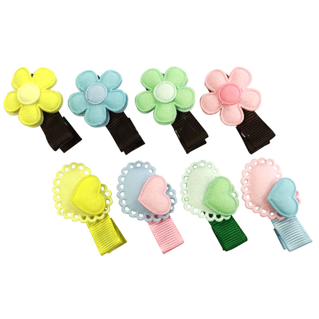 Wrapables Dress up Daisies and Hearts Spring Hair Clips, Set of 8