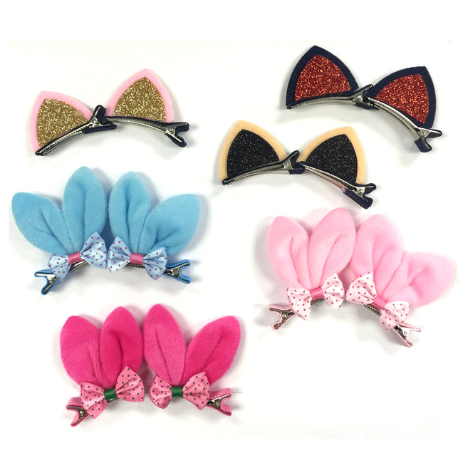 Wrapables Dress Up Bunny and Kitty Ears Hair Clips, Set of 6