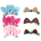 Wrapables Rabbit and Cat Ears with Bow Alligator Hair Clips (Set of 12)