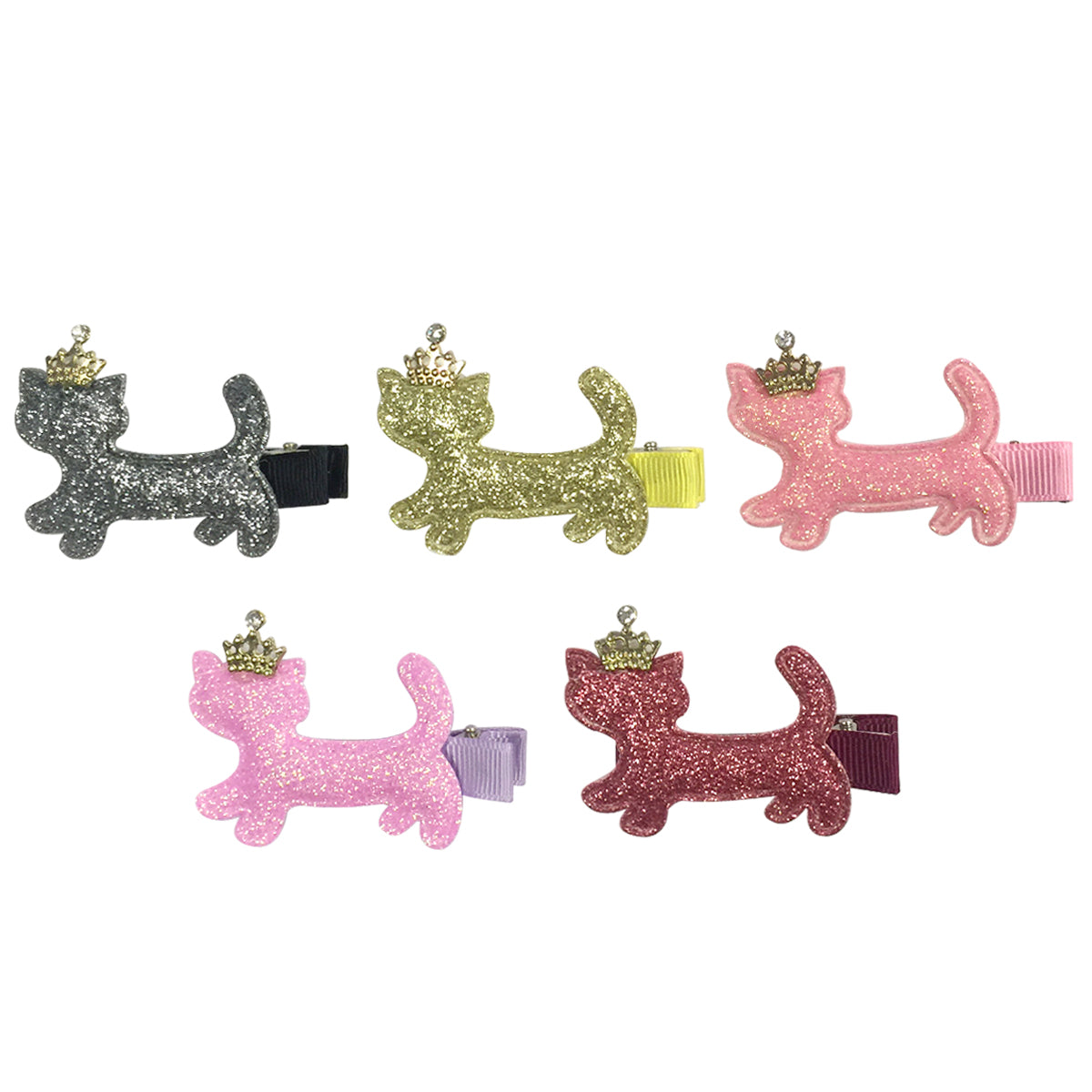 Wrapables Dress Up Sparkly Kitties Hair Clips, Set of 5