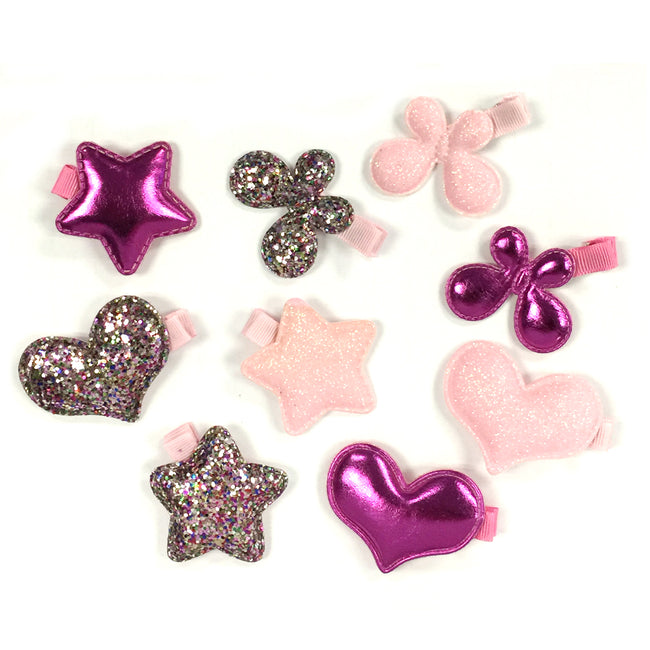 Wrapables Dress up Glitter and Metallic Shine Alligator Hair Clips for Baby Toddler, Set of 9