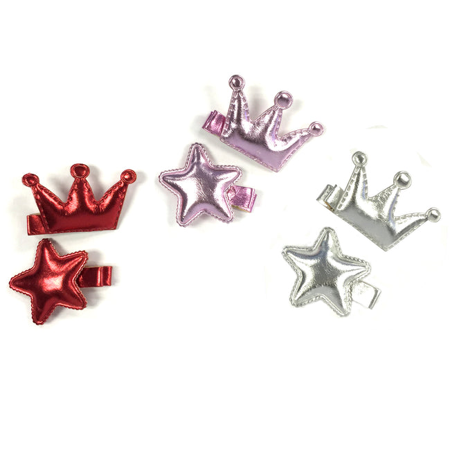 Wrapables Dress Up Princess Star Metallic Shine Alligator Hair Clips for Baby Toddler, Set of 6, Silver Collection