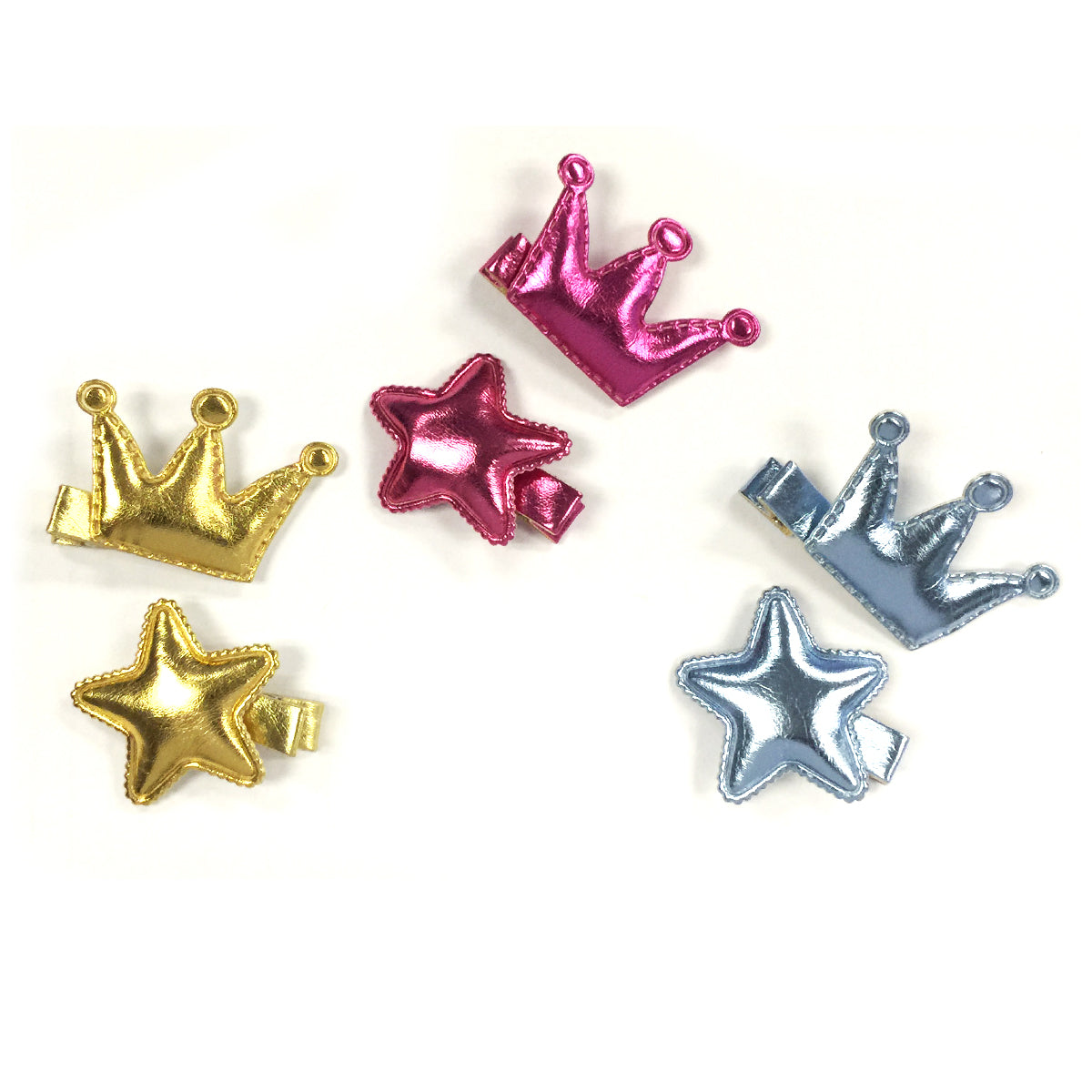 Wrapables Dress Up Princess Star Metallic Shine Alligator Hair Clips for Baby Toddler, Set of 6, Gold Collection