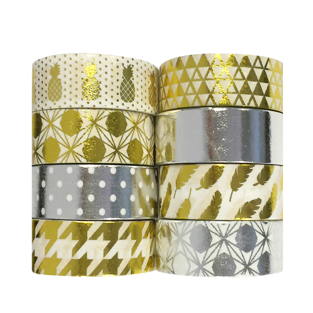 Wrapables Metallic Foil Washi Masking Tape Collection (Set of 8)
