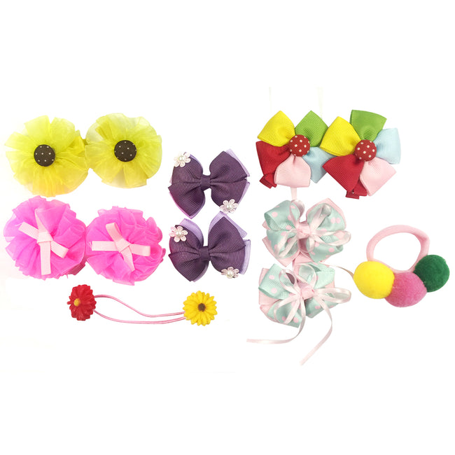 Wrapables Rainbow Flowers and Bows Hair Accessories (Set of 12)