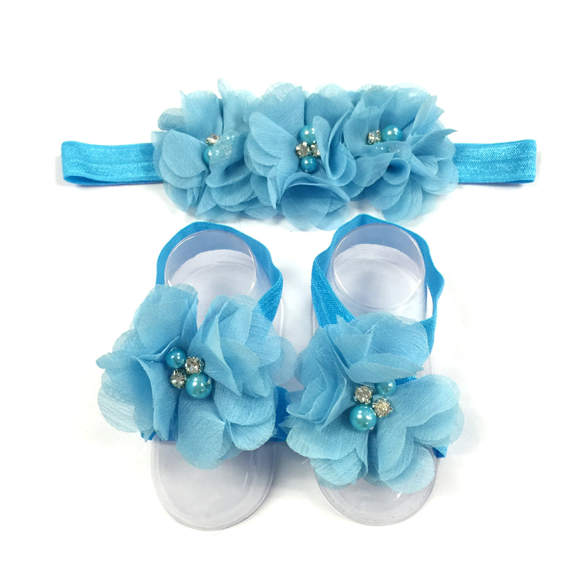 Wrapables Shabby Chic Flower Headband + Barefoot Sandals (Set of 4)